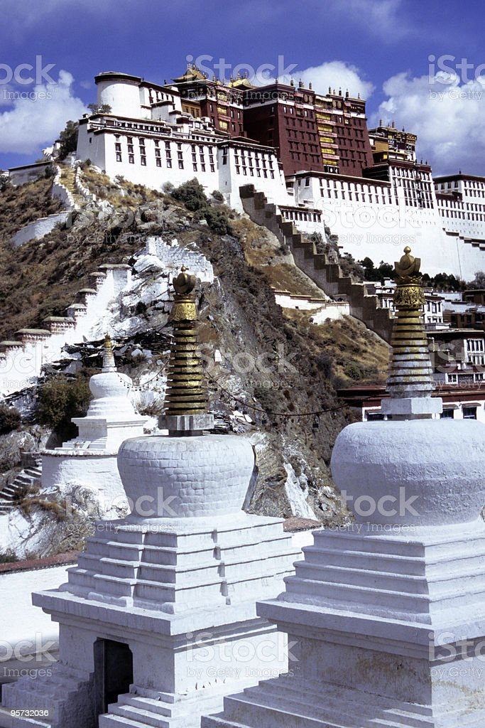 Potala Palace and stupas, Lhasa, Tibet royalty-free stock photo
