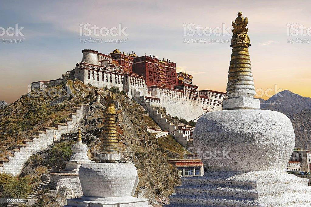 Potala Palace in Tibet during sunset stock photo