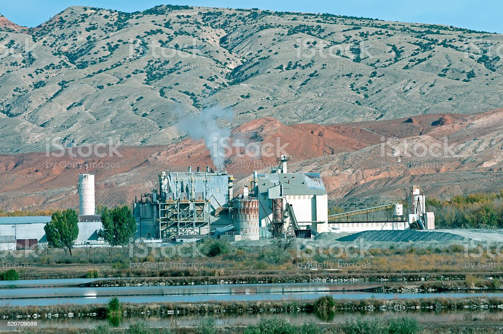 Potash plant in foothills of Bighorn Mountains WY stock photo