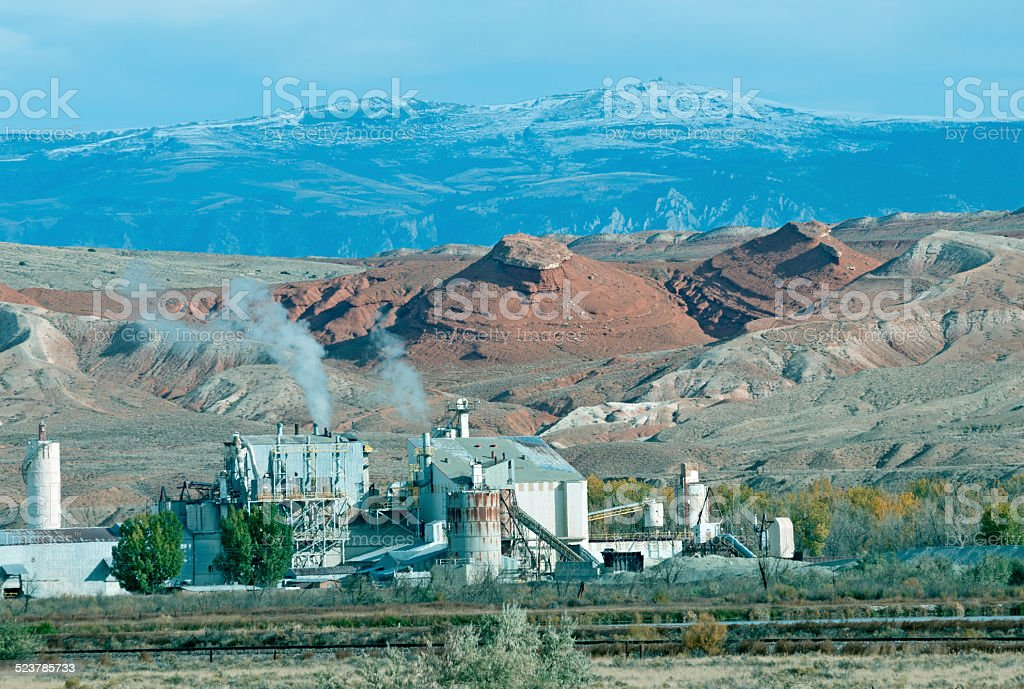 Potash processing plant and Bighorn Mountains in northern Wyoming stock photo