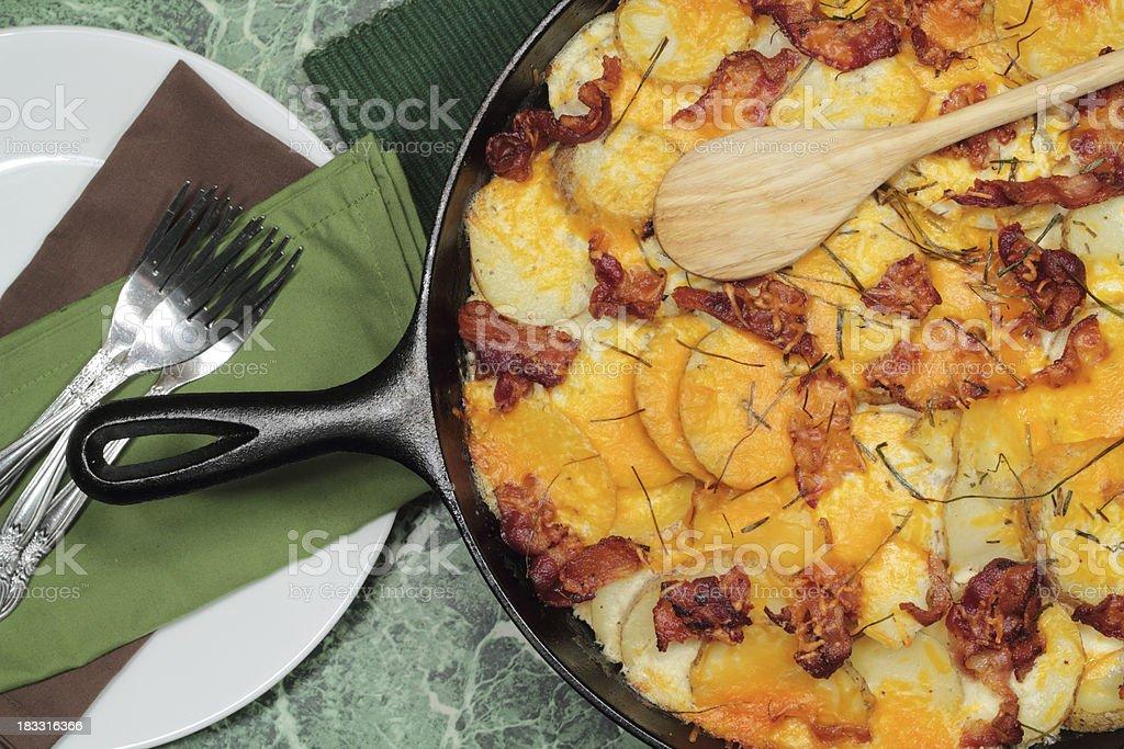Potato and bacon au gratin royalty-free stock photo
