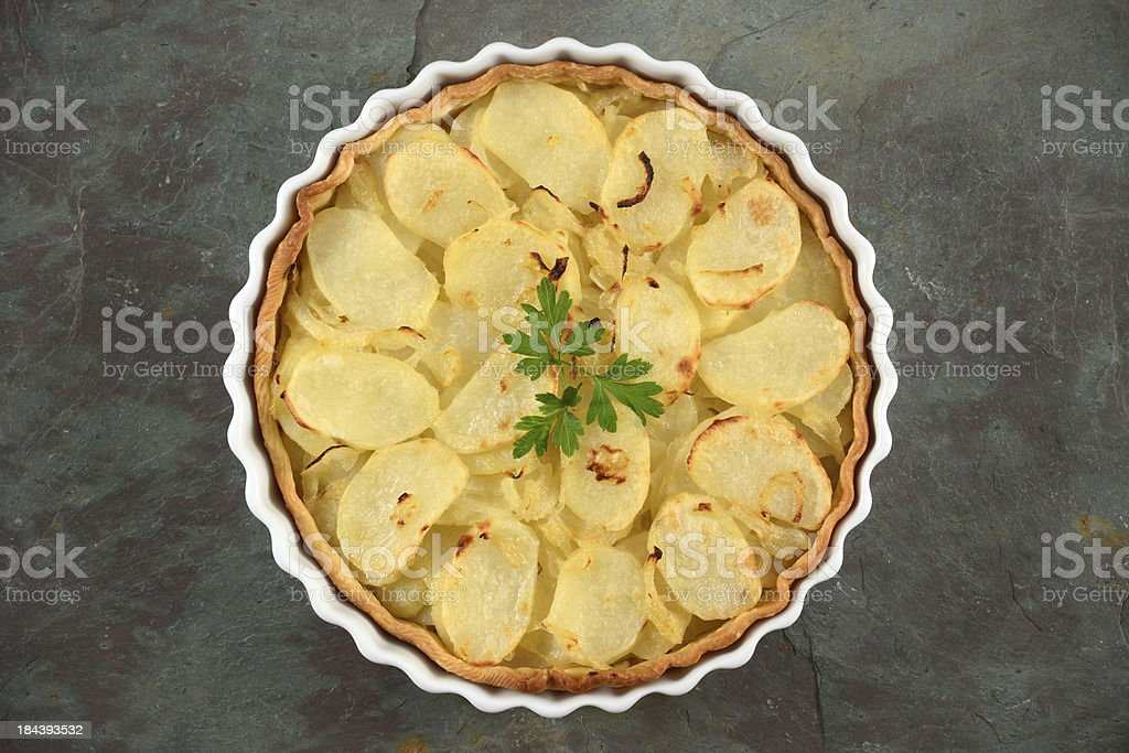 Potato and Onion Tart stock photo