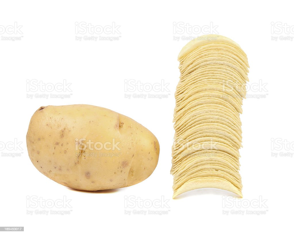 Potato and stack of chips. royalty-free stock photo