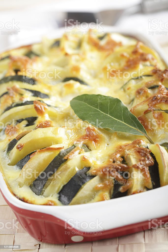 Potato and zucchini gratin stock photo