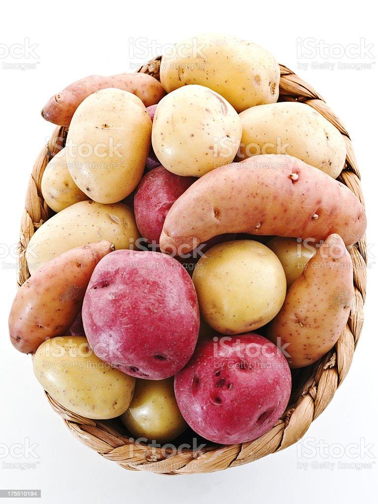 potato basket assortment stock photo