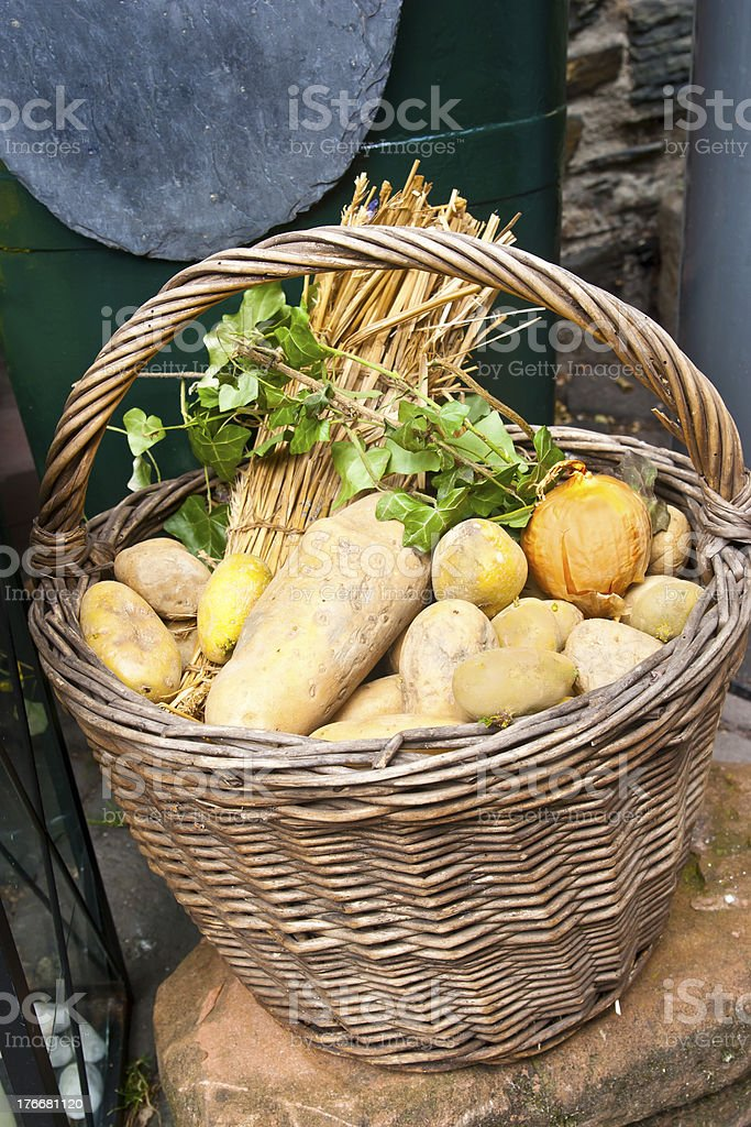 Potato Basket with Decoration stock photo