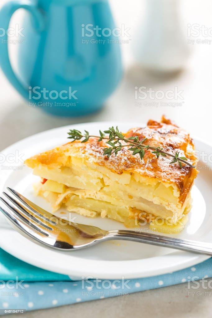 Potato breakfast gratin with parmesan stock photo