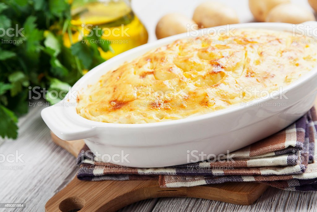 Potato casserole with meat stock photo