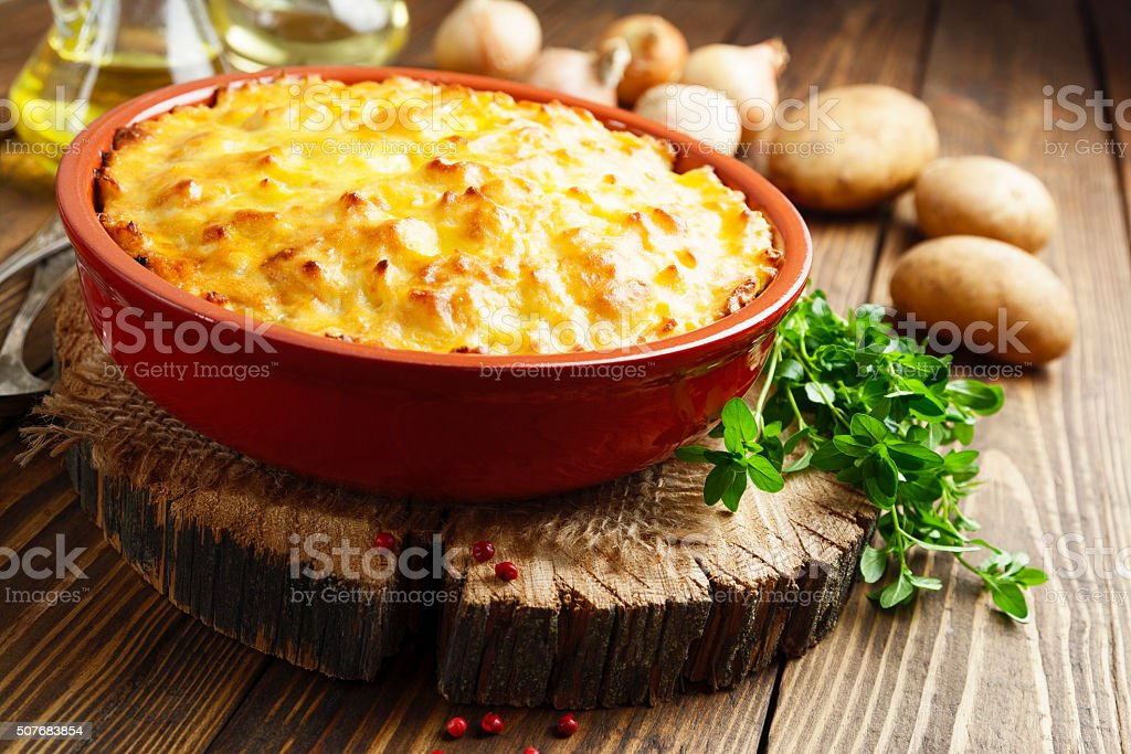 Potato casserole with meat stock photo
