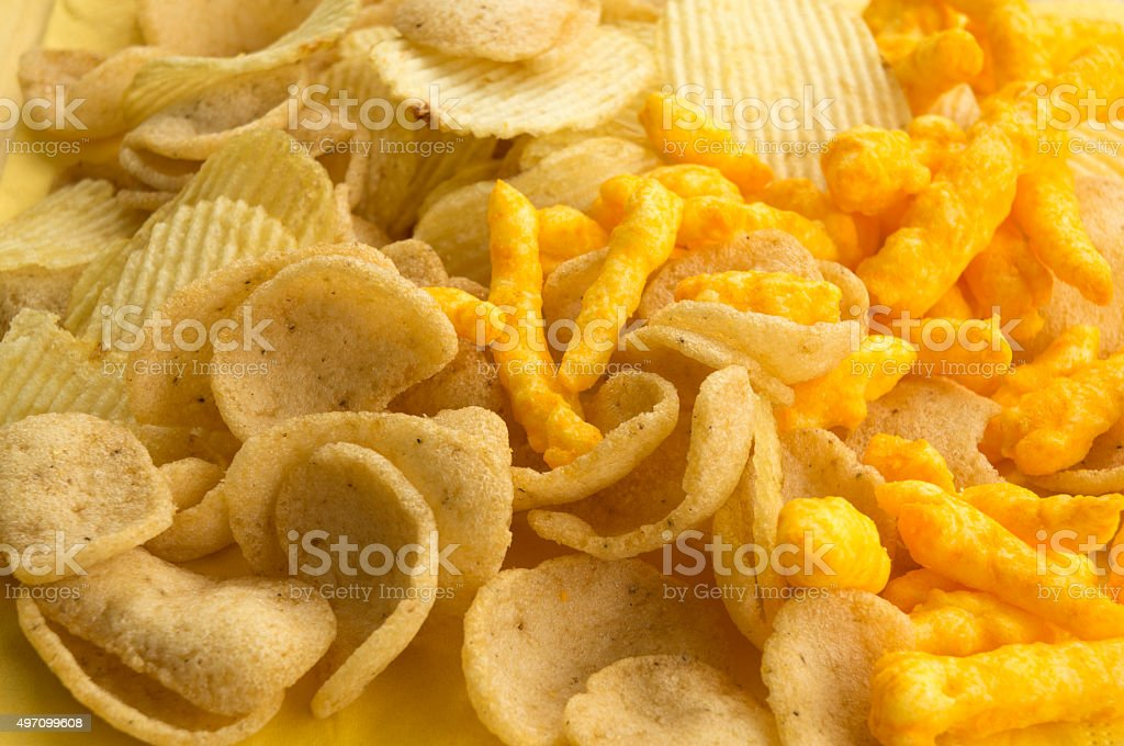 potato chip fat cholesterol salted junk fast food concept stock photo