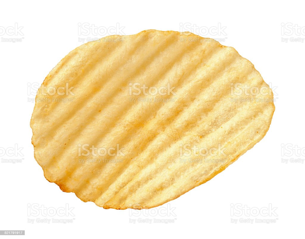 Potato Chip with Ridges isolated stock photo