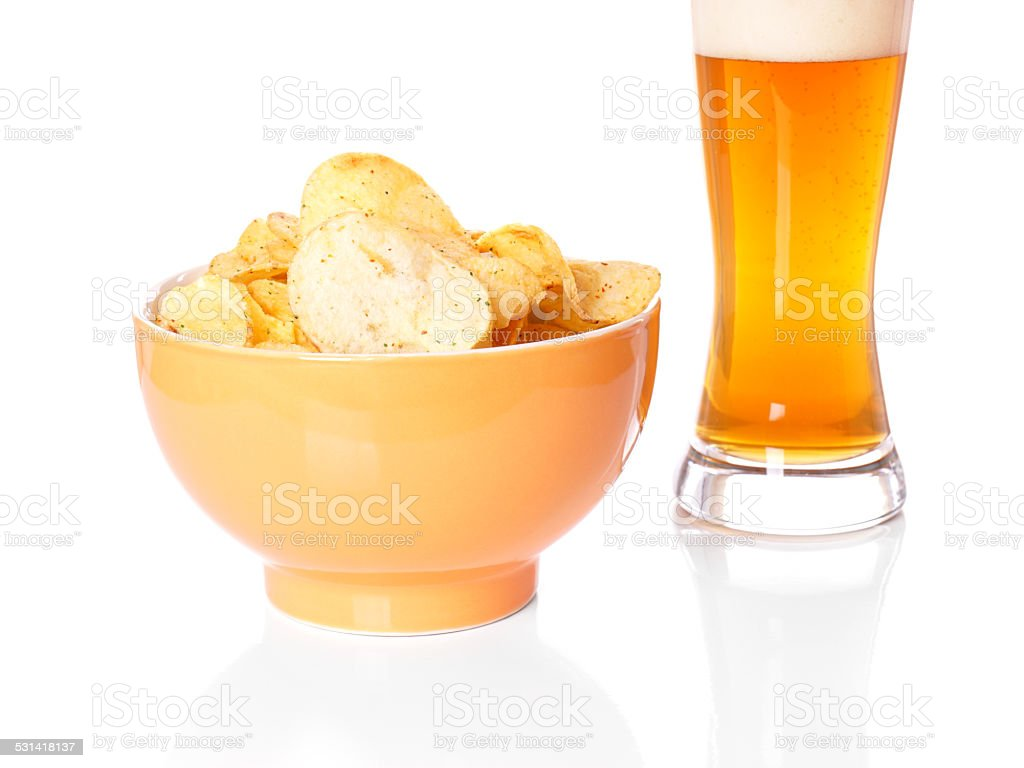 potato chips and beer stock photo