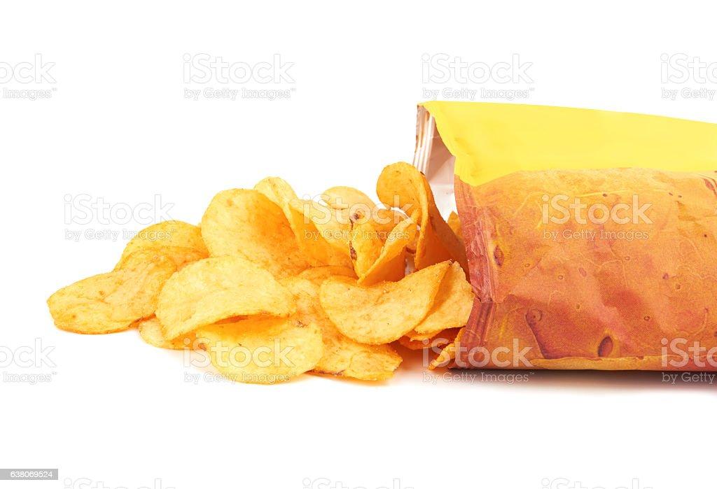 Potato chips bag stock photo