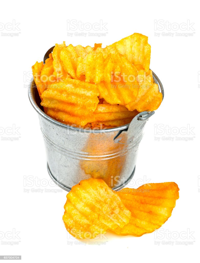 potato chips in a bucket stock photo