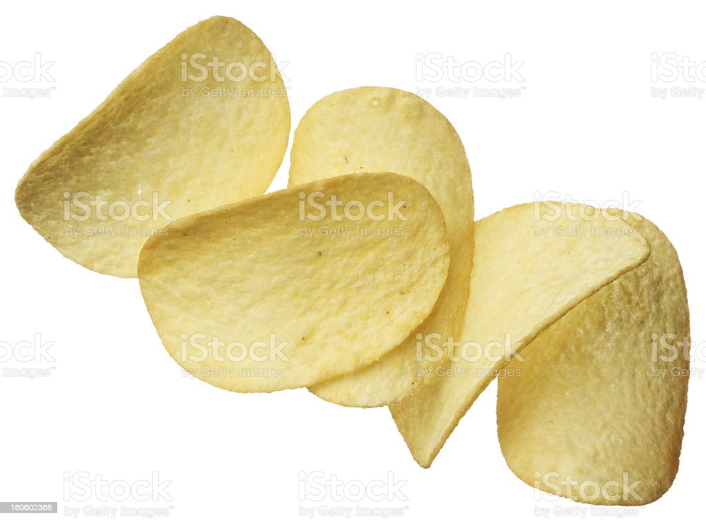 Potato chips isolated on white background royalty-free stock photo