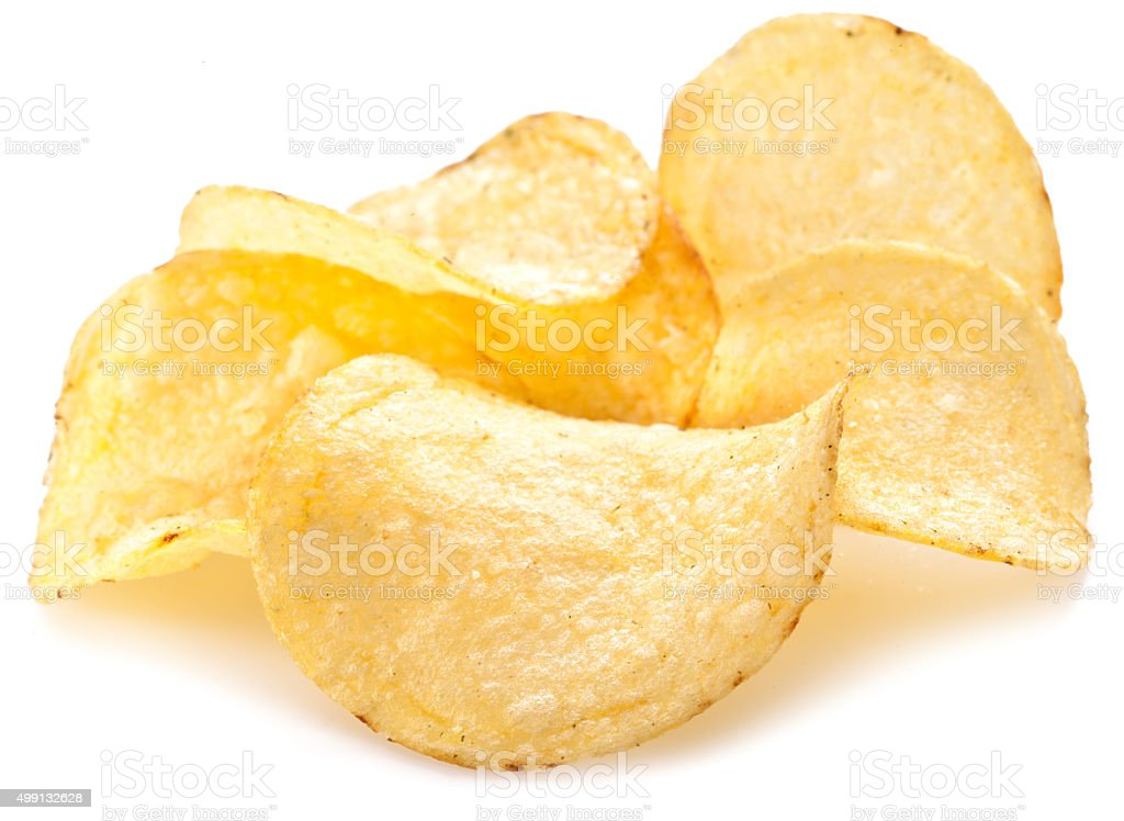 Potato chips on a white background. stock photo