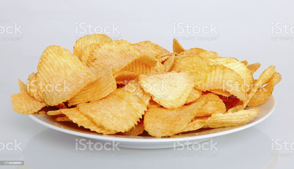 Potato chips on white royalty-free stock photo