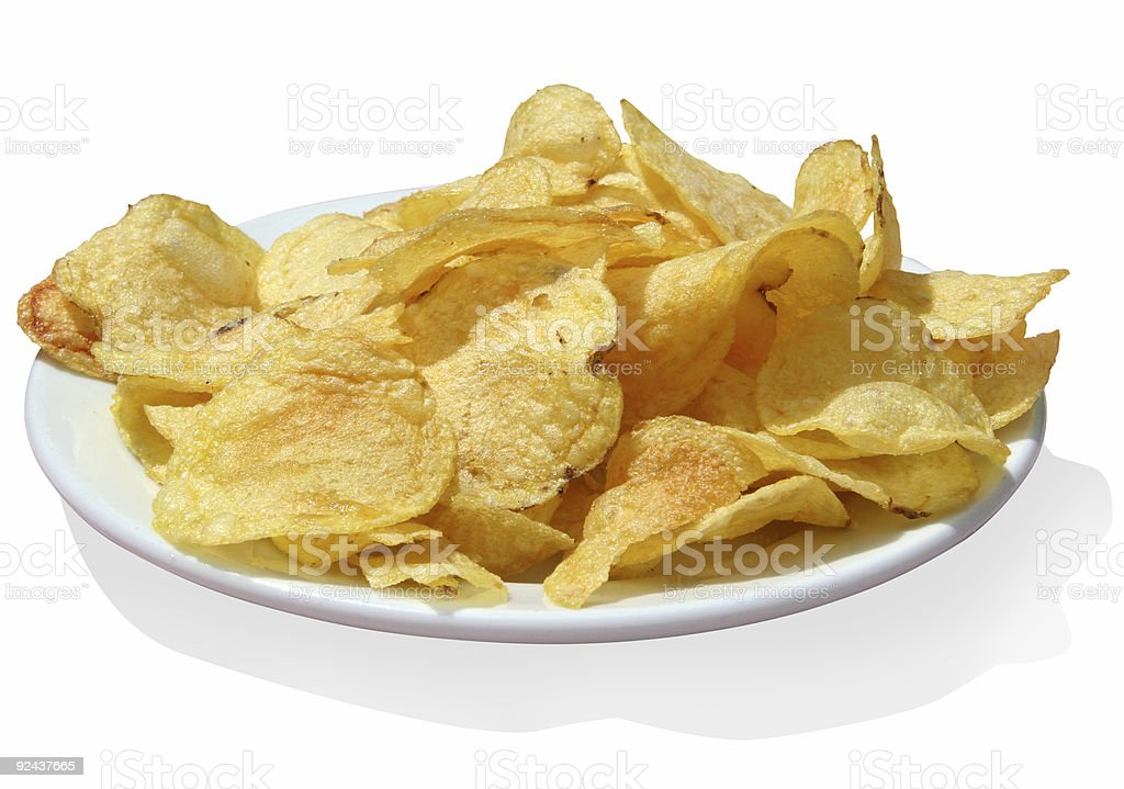 Potato chips w/path stock photo