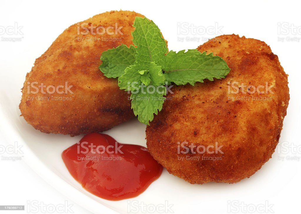 Potato chops with tomato ketchup royalty-free stock photo