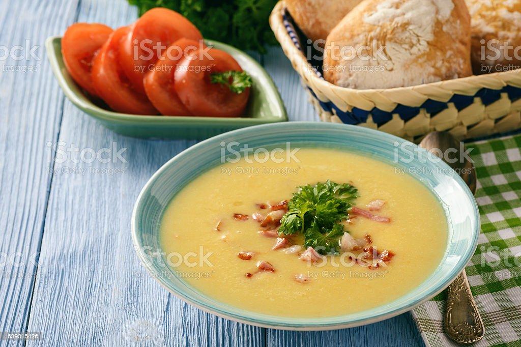 Potato cream soup with cheese and bacon. stock photo