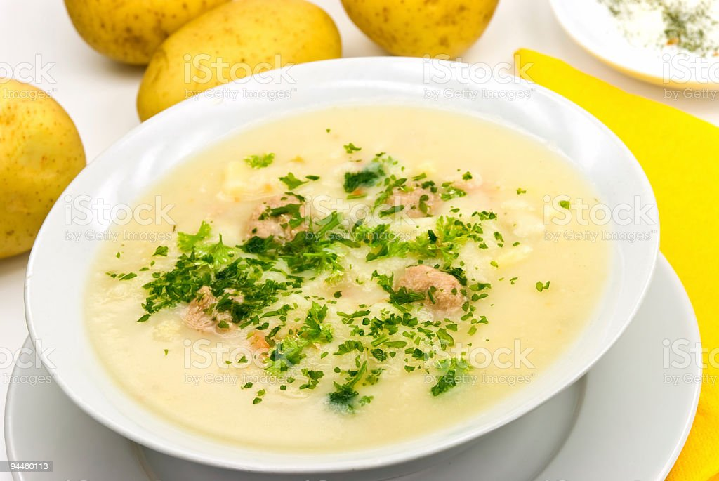potato cream soup with chopped meat balls royalty-free stock photo