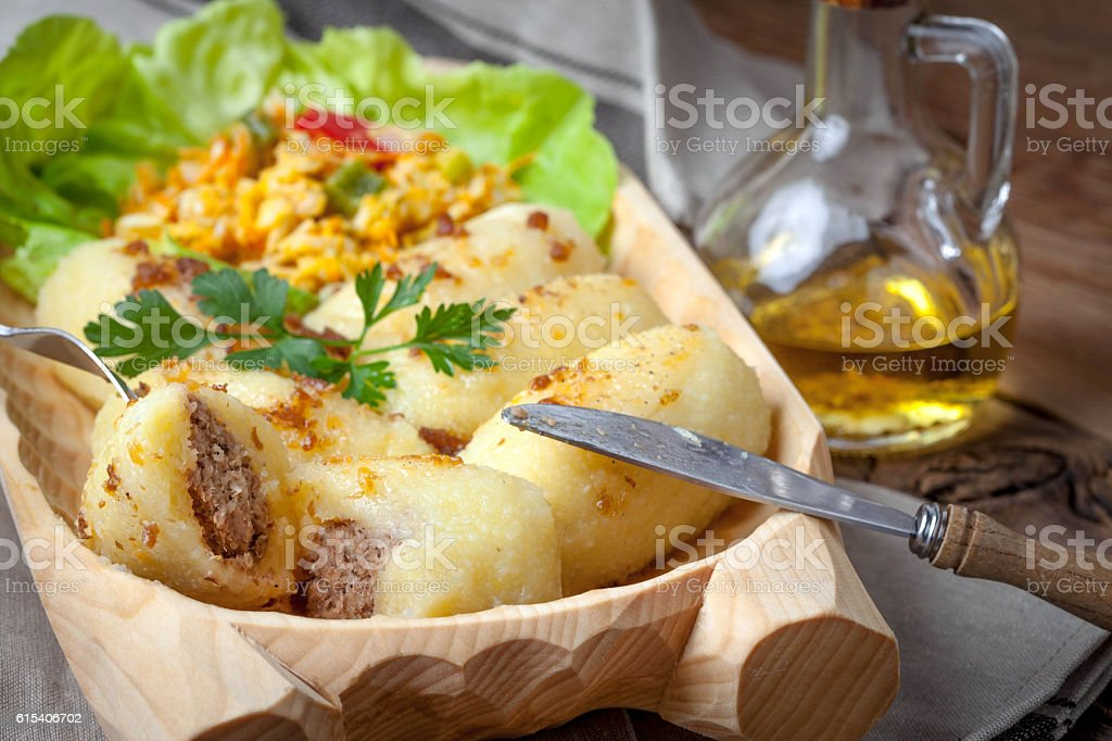 Potato dumplings stuffed with minced meat. stock photo