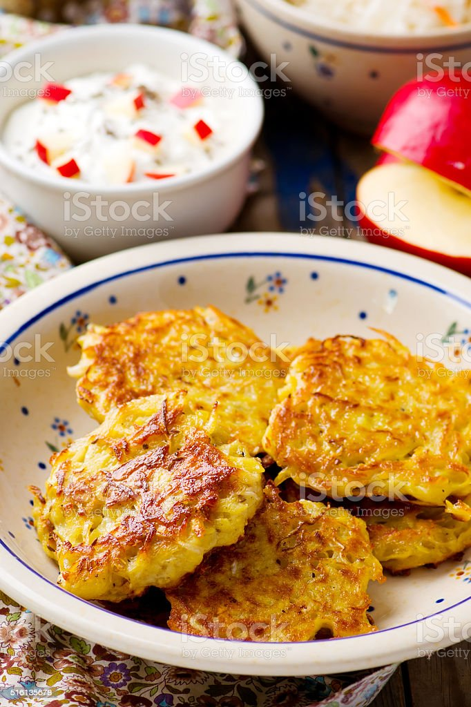 potato fritters with cottage cheese stock photo