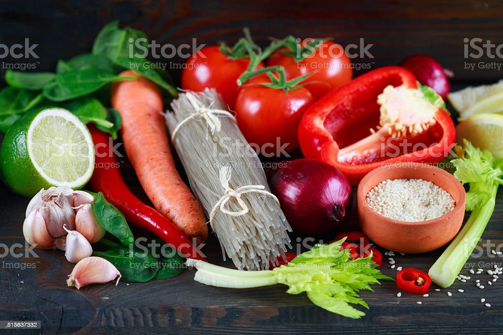 Potato glass noodles and fresh vegetables for cooking Oriental dishes stock photo