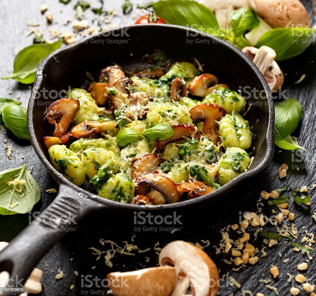 Potato gnocchi, delicious vegetarian dish stock photo