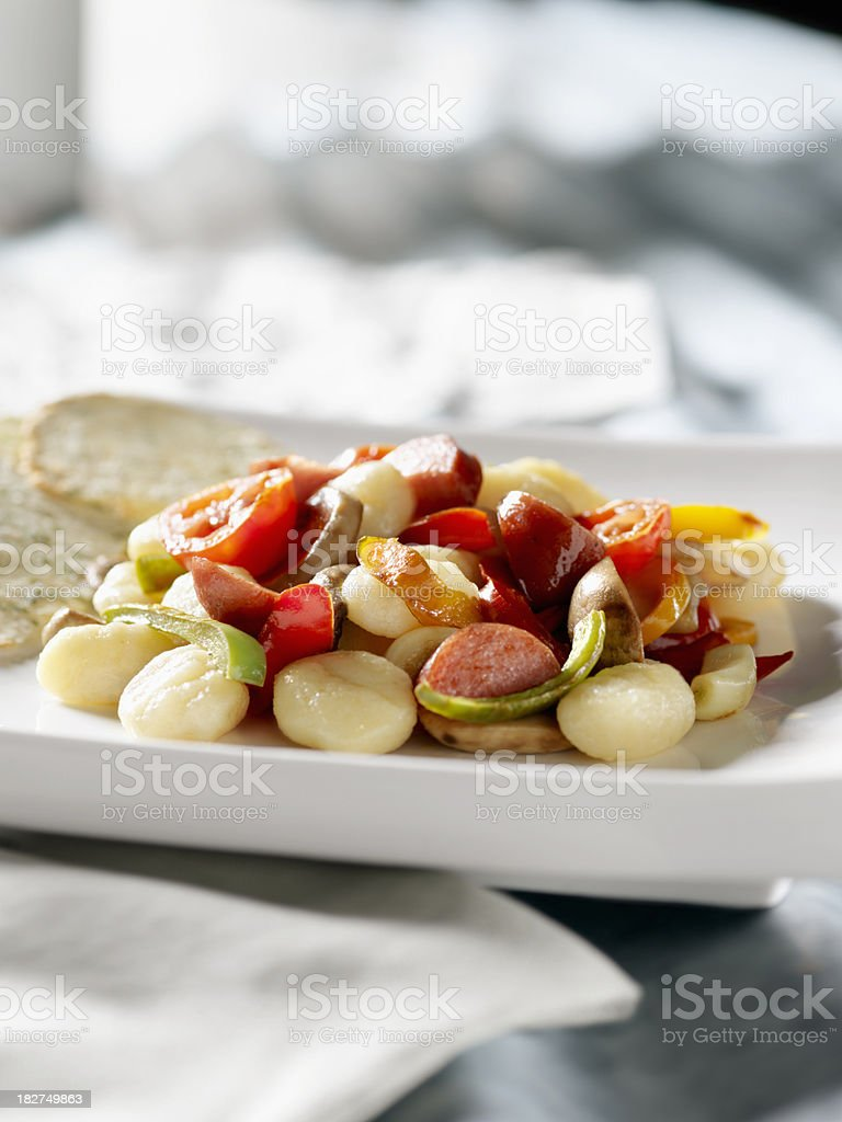 Potato Gnocchi with Sausage royalty-free stock photo