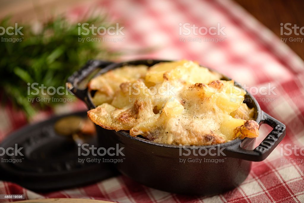 Potato gratin dauphinois stock photo