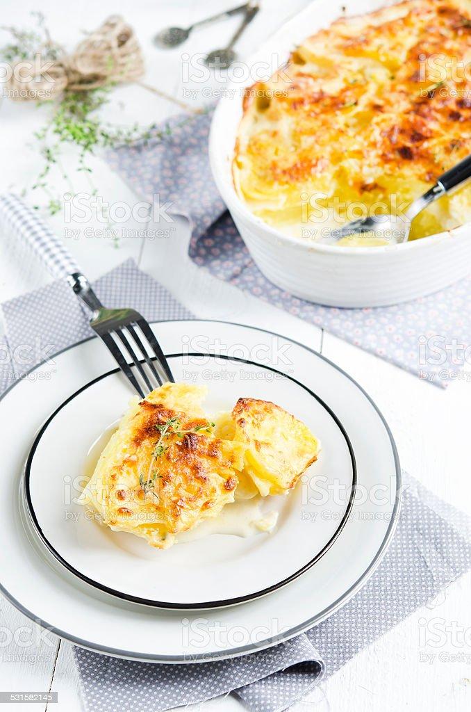 Potato gratin dauphinoise stock photo