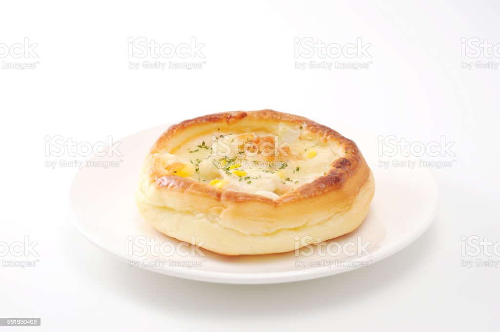 potato gratin pie bread on plate on white background stock photo