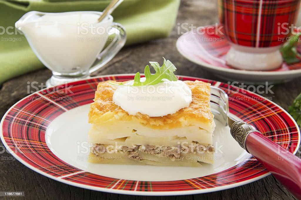 Potato gratin with cheese and meat. royalty-free stock photo