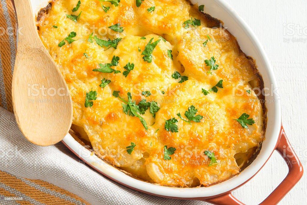 Potato gratin with cheese stock photo