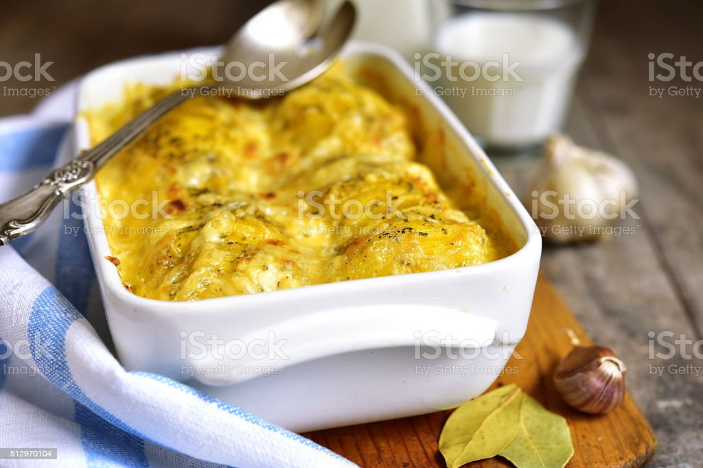 Potato gratine. stock photo