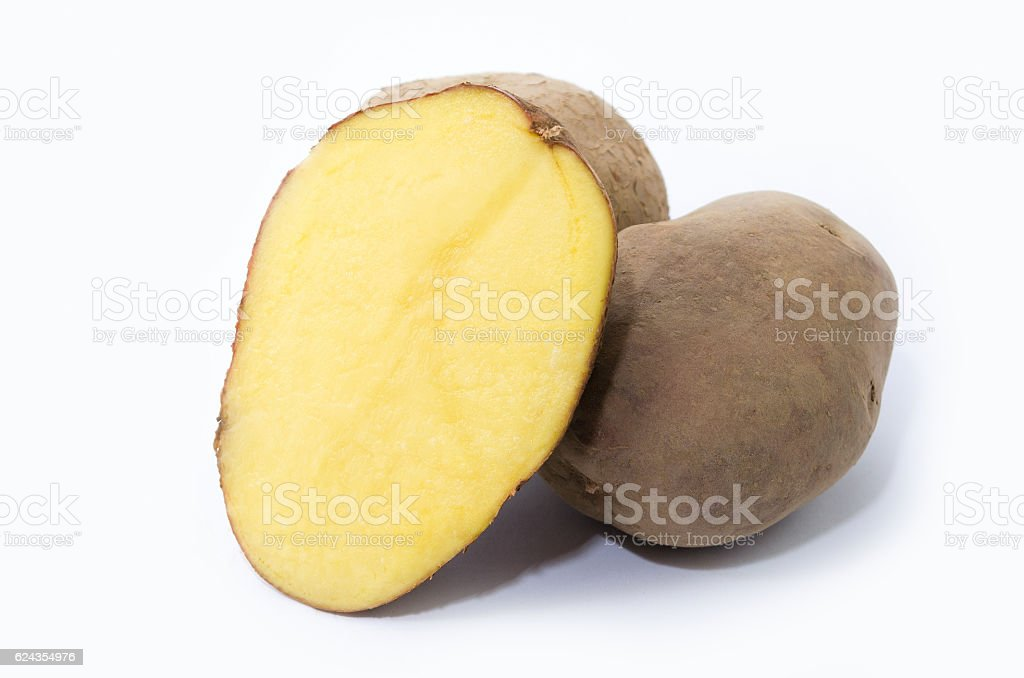 Potato group and half potatoes royalty-free stock photo