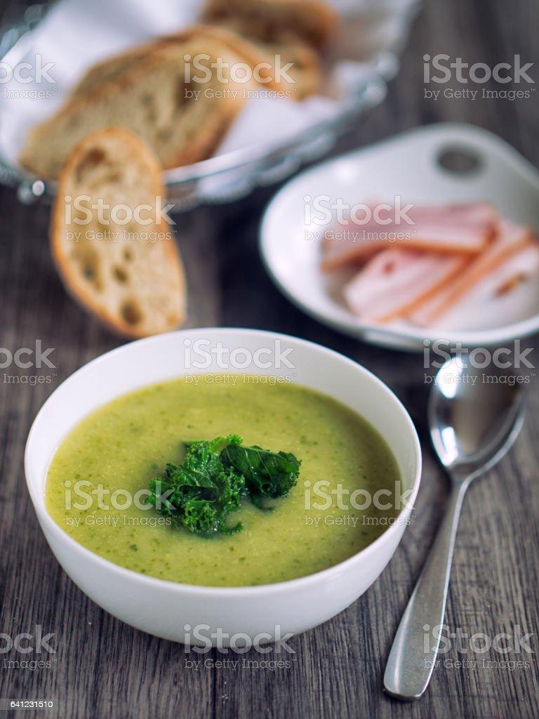 Potato leek soup stock photo
