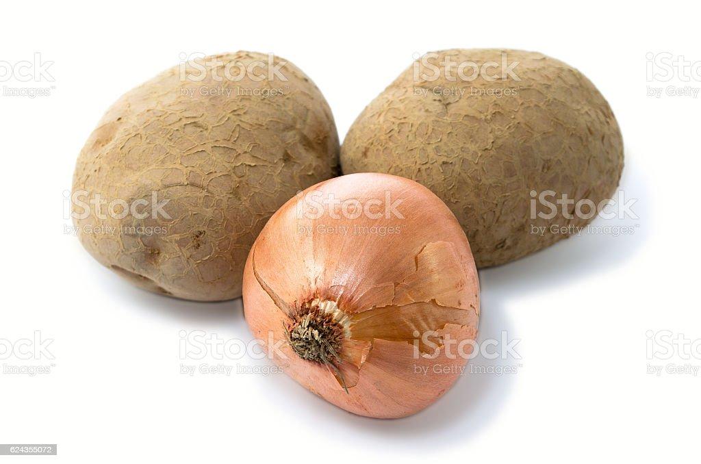 Potato onion  group and half potatoes royalty-free stock photo