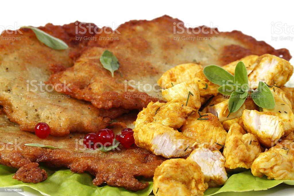Potato pancake and chiken Meat stock photo