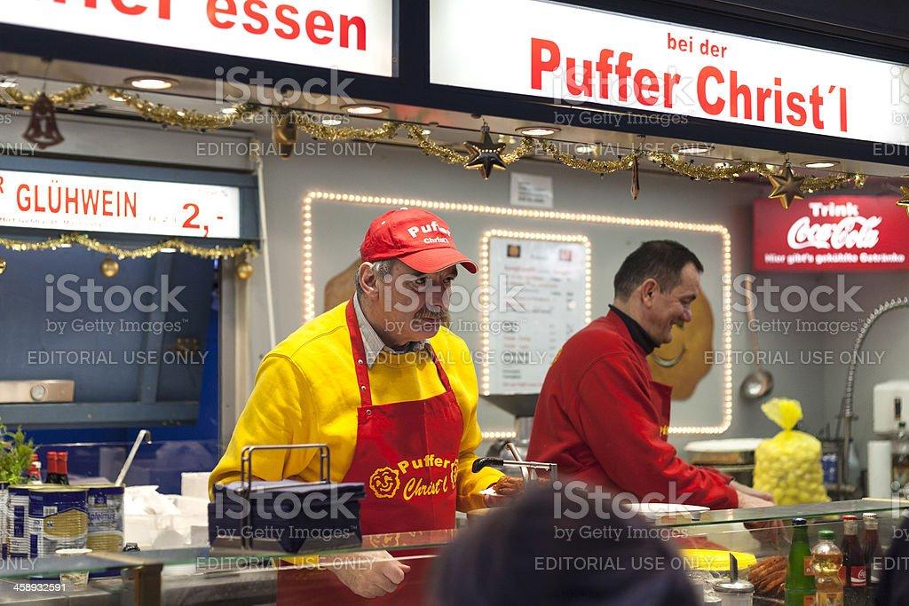 Potato pancake booth at Sternschnuppenmarkt Wiesbaden royalty-free stock photo