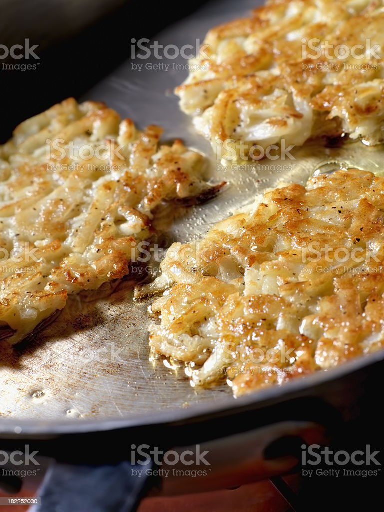 Potato Pancakes (Latkas) in Frying Pan royalty-free stock photo