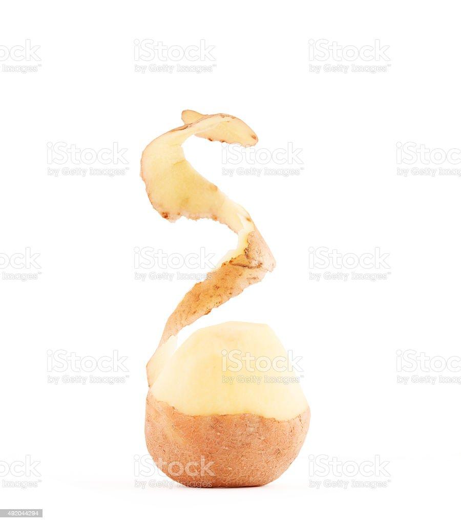 Potato peel isolated on a white background stock photo