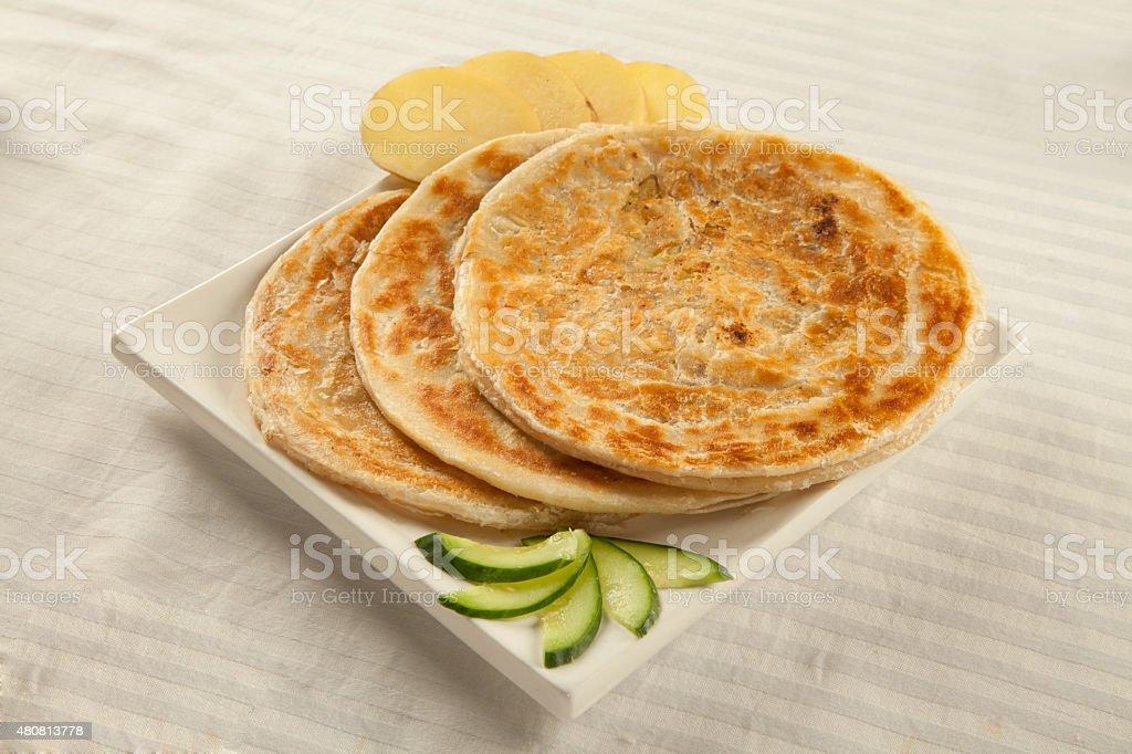 Potato puri paratha stock photo