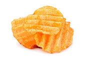 Potato ribbed chips on white