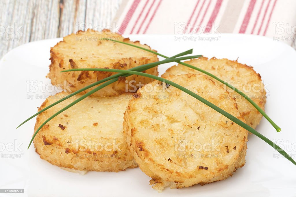 Potato Rosti cakes stock photo