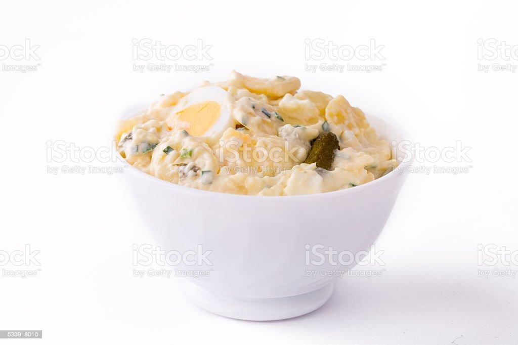 Potato Salad in white bowl. stock photo