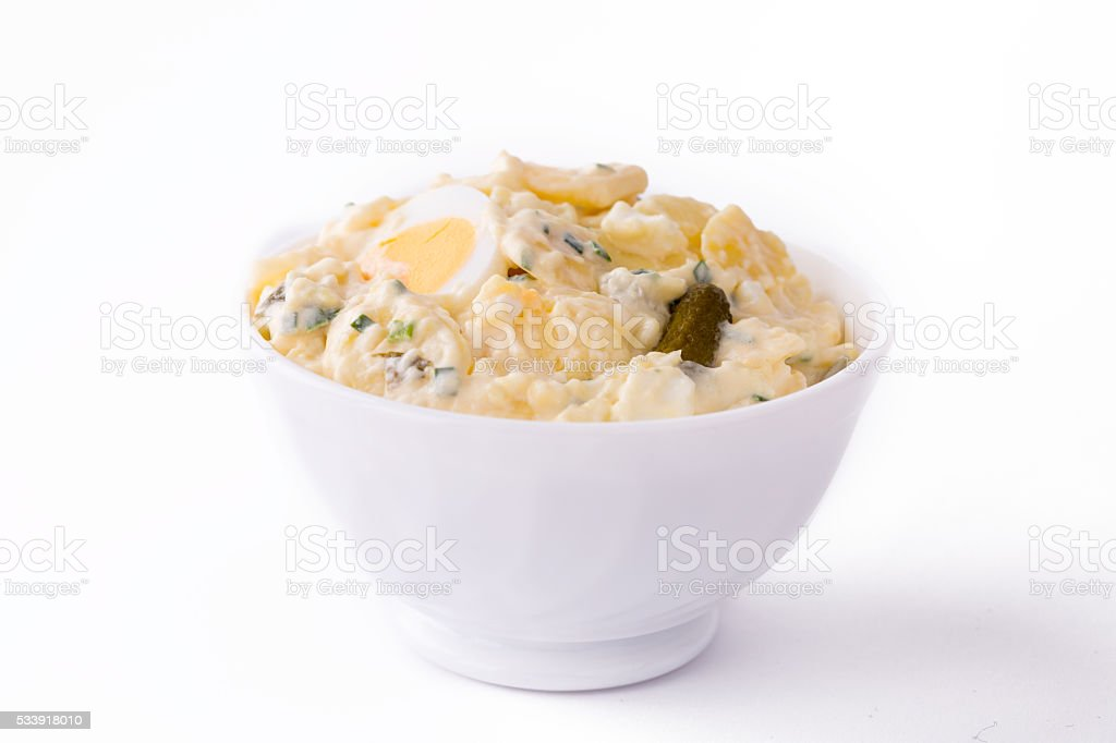 Potato Salad in white bowl. stock photo