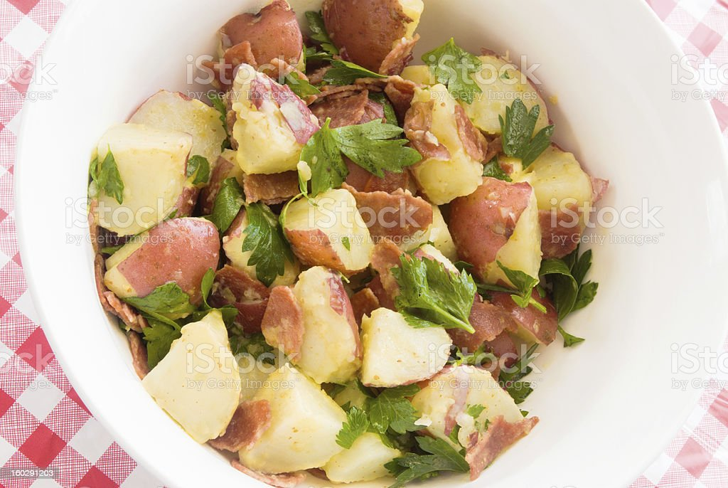potato salad made with new red potatoes and turkey bacon stock photo