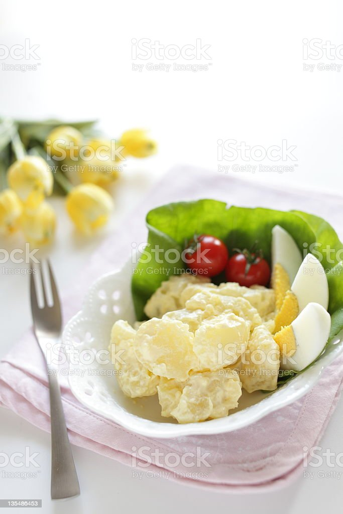 Potato salad with boiled egg royalty-free stock photo